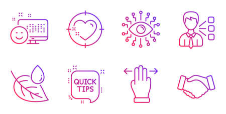 Artificial intelligence, Third party and Multitasking gesture line icons set. Smile, Heart target and Quick tips signs. Leaf dew, Handshake symbols. All-seeing eye, Team leader. Business set. Vector Иллюстрация
