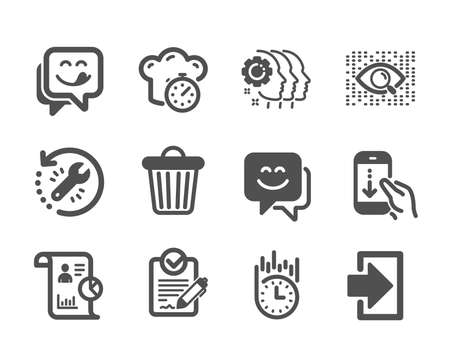 Set of Technology icons, such as Rfp, Trash bin, Employees teamwork, Cooking timer, Fast delivery, Login, Recovery tool, Report, Smile face, Artificial intelligence, Yummy smile. Rfp icon. Vector