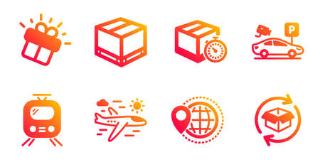 Airplane travel, Parking security and World travel line icons set. Gift, Delivery timer and Train signs. Delivery box, Return parcel symbols. Trip flight, Video camera. Transportation set. Vector Stock Vector - 127878864