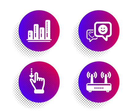Graph chart, Smile and Touchscreen gesture icons simple set. Halftone dots button. Wifi sign. Growth report, Socila media, Slide down. Internet router. Technology set. Vector