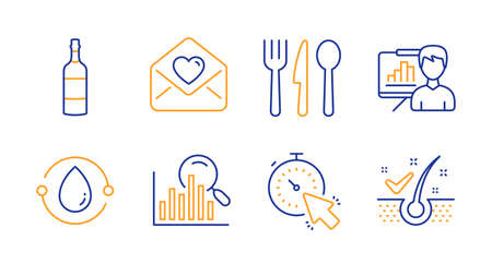 Cold-pressed oil, Search and Love letter line icons set. Presentation board, Timer and Food signs. Brandy bottle, Anti-dandruff flakes symbols. Organic tested, Analytics. Business set. Vector Illusztráció