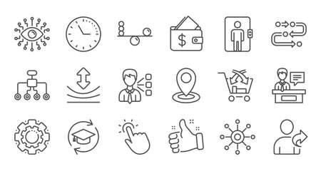 Künstliche Intelligenz, Balance und Freundschaftsliniensymbole verweisen. Zeitleiste, Mehrkanal. Linearer Symbolsatz. Qualitätslinie eingestellt. Vektor Vektorgrafik