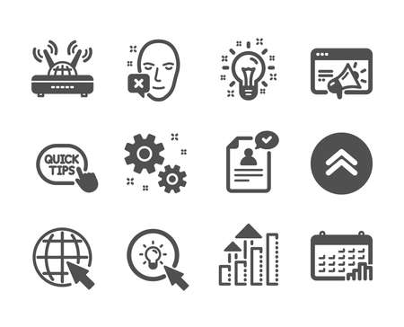 Set of Science icons, such as Quick tips, Wifi, Work, Swipe up, Energy, Seo marketing, Resume document, Idea, Calendar graph, Internet, Analysis graph, Face declined classic icons. Vector
