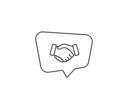 Handshake line icon. Chat bubble design. Hand gesture sign. Business deal palm symbol. Outline concept. Thin line handshake icon. Vector