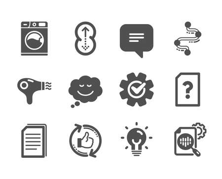 Set of Technology icons, such as Copy files, Washing machine, Refresh like, Energy, Cogwheel, Timeline, Speech bubble, Hair dryer, Seo stats, Text message, Swipe up, Unknown file. Vector