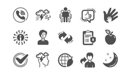 Check mark, Sharing economy and Mindfulness stress icons. Privacy Policy, Social Responsibility. Classic icon set. Quality set. Vector Vektoros illusztráció
