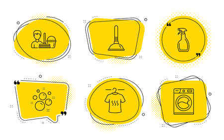 Cleaning service, Spray and Washing machine signs. Chat bubbles. Dry t-shirt, Plunger and Clean bubbles line icons set. Laundry shirt, Clogged pipes cleaner, Laundry shampoo. Bucket with mop. Vector