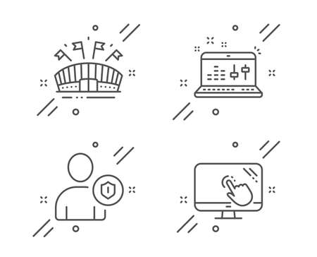 Sound check, Sports arena and Security line icons set. Touch screen sign. Dj controller, Event stadium, Person protection. Web support. Line sound check outline icon. Vector
