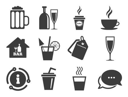 Coffee and tea drinks. Discount offer tag, chat, info icon. Cocktail, beer icons. Soft and alcohol drinks symbols. Classic style signs set. Vector