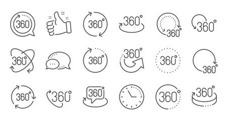 360 degrees line icons. Rotate arrow, VR panoramic simulation and augmented reality. 360 degrees virtual gaming, abstract geometry, full rotation view icons. Linear set. Quality line set. Vector Ilustração