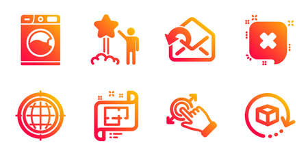 Star, Washing machine and Send mail line icons set. Seo internet, Reject and Architectural plan signs. Touchscreen gesture, Return package symbols. Launch rating, Laundry service. Vector