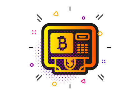Cryptocurrency cash sign. Halftone circles pattern. Bitcoin ATM icon. Dollar money symbol. Classic flat bitcoin atm icon. Vector Ilustracja