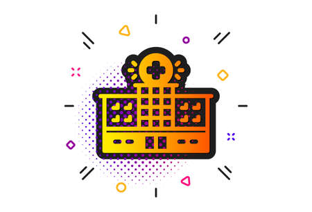 Medical help sign. Halftone circles pattern. Hospital building icon. Classic flat hospital building icon. Vector Illustration