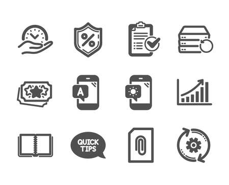 Set of Technology icons, such as Weather phone, Loan percent, Cogwheel, Loyalty points, Book, Ab testing, Recovery server, Safe time, Survey checklist, Graph chart, Quickstart guide. Vector Banque d'images - 127878941