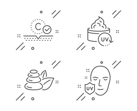 Collagen skin, Spa stones and Uv protection line icons set. Uv protection sign. Skin care, Bath, Ultraviolet. Beauty set. Line collagen skin outline icon. Vector