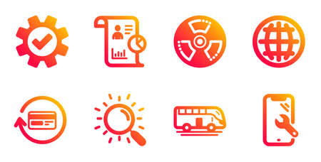Report, Refund commission and Globe line icons set. Bus tour, Chemical hazard and Search signs. Service, Smartphone repair symbols. Work statistics, Cashback card. Business set. Vector Illusztráció