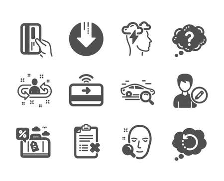 Set of Technology icons, such as Face search, Question mark, Recovery data, Download arrow, Payment card, Search car, Edit person, Contactless payment, Reject checklist, Mindfulness stress. Vector Illustration