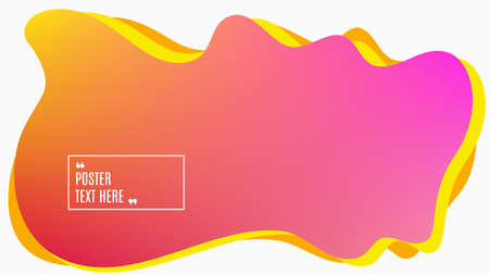 Blurred background. Geometric liquid shape. Abstract pink and yellow gradient design. Dynamic shape background. Landing page blurred cover. Composition template banner. Vector