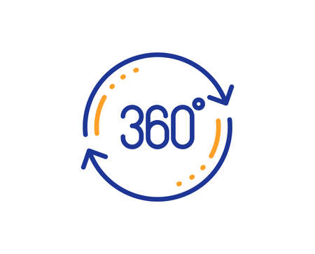 Full rotation sign. 360 degree line icon. VR technology simulation symbol. Colorful outline concept. Blue and orange thin line full rotation icon. Vector Фото со стока - 127878982