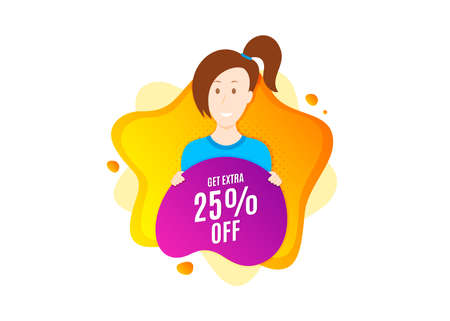 Get Extra 25% off Sale. Cut out people badge. Discount offer price sign. Special offer symbol. Save 25 percentages. Dynamic shape offer. Extra discount text. Cut out people dynamic banner. Vector