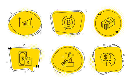 Chart, Private payment and Pay signs. Chat bubbles. Usd currency, Innovation and Refresh bitcoin line icons set. Buying commerce, Crowdfunding, Update cryptocurrency. Presentation chart. Vector