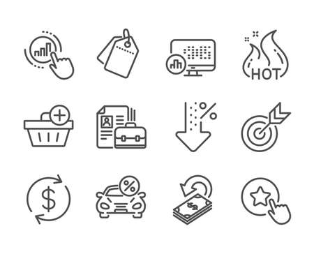 Set of Finance icons, such as Target, Cashback, Low percent, Vacancy, Car leasing, Sale tags, Add purchase, Usd exchange, Loyalty star, Hot sale, Graph chart, Report statistics line icons. Vector