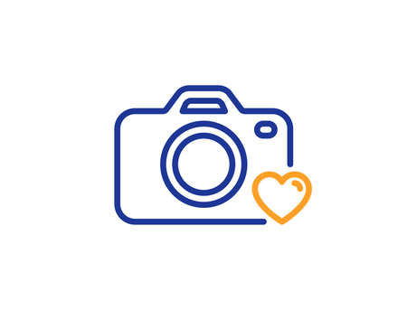 Love photography sign. Photo camera line icon. Heart symbol. Colorful outline concept. Blue and orange thin line photo camera icon. Vector