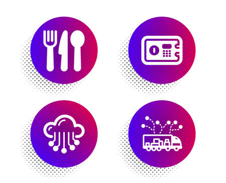 Safe box, Cloud storage and Food icons simple set. Halftone dots button. Truck delivery sign. Deposit, Data service, Cutlery. Logistics. Business set. Classic flat safe box icon. Vector