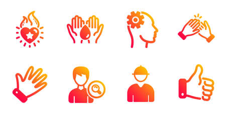 Engineer, Engineering and Search people line icons set. Safe water, Hand and Clapping hands signs. Heart flame, Like hand symbols. Worker profile, Cogwheel head. People set. Vector  イラスト・ベクター素材