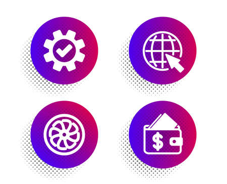 Internet, Service and Fan engine icons simple set. Halftone dots button. Wallet sign. World web, Cogwheel gear, Ventilator. Affordability. Business set. Classic flat internet icon. Vector