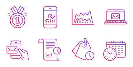 Report, Messenger mail and Approved line icons set. Trade chart, E-mail and Smartphone statistics signs. Time management, Calendar time symbols. Work analysis, New e-mail. Education set. Vector