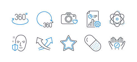 Set of Science icons, such as Report, Atom, Photo camera, Face protection, Full rotation, 360 degrees, Capsule pill, Intersection arrows, Star, Medical tablet line icons. Line report icon. Vector
