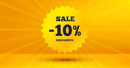Discount banner shape. Sale 10 percent off badge. Coupon star icon. Abstract yellow background. Modern concept design. Banner with offer badge. Vector Banque d'images - 127877525