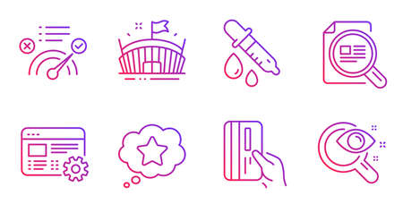 Arena, Payment card and Correct answer line icons set. Web settings, Loyalty star and Check article signs. Chemistry pipette, Vision test symbols. Sport stadium, Credit card. Business set. Vector