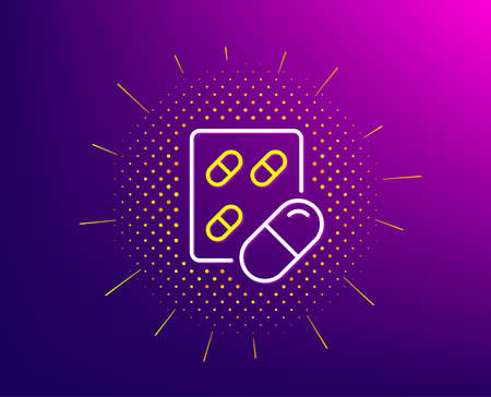 Capsule pill line icon. Halftone pattern. Medical drugs sign. Pharmacy medication symbol. Gradient background. Capsule pill line icon. Yellow halftone pattern. Vector