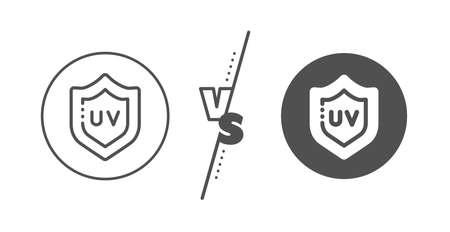 Skin care sign. Versus concept. Uv protection cream line icon. Cosmetic lotion symbol. Line vs classic uv protection icon. Vector