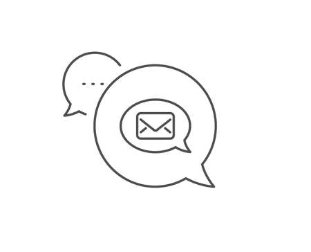 Mail line icon. Chat bubble design. Messenger communication sign. E-mail symbol. Outline concept. Thin line messenger icon. Vector