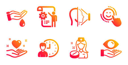 Wash hands, Hold heart and Nurse line icons set. Settings blueprint, Working hours and Smile signs. Face id, Health eye symbols. Skin care, Friendship. People set. Vector