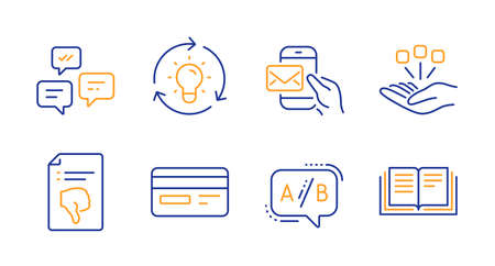 Messenger mail, Idea and Ab testing line icons set. Consolidation, Credit card and Chat messages signs. Thumb down, Education symbols. New e-mail, Lightbulb. Technology set. Vector Illustration