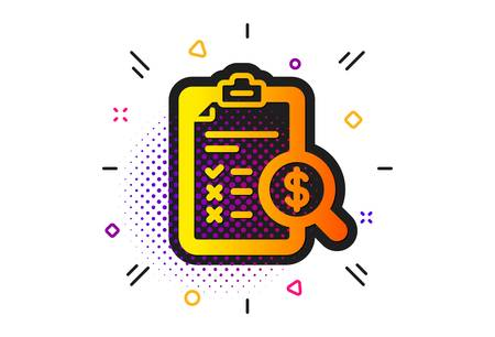 Audit sign. Halftone circles pattern. Accounting report icon. Check finance symbol. Classic flat accounting report icon. Vector 일러스트