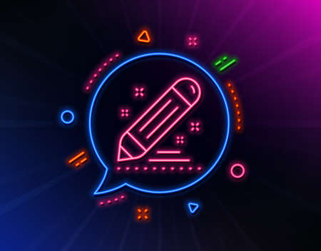 Brand contract line icon. Neon laser lights. Pencil sign. Edit social marketing report symbol. Glow laser speech bubble. Neon lights chat bubble. Banner badge with brand contract icon. Vector