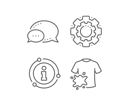 Dirty t-shirt line icon. Chat bubble, info sign elements. Laundry shirt sign. Clothing cleaner symbol. Linear dirty t-shirt outline icon. Information bubble. Vector