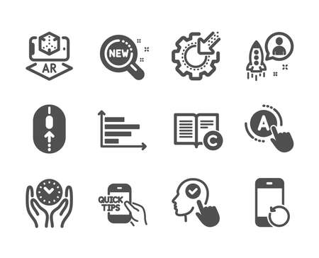 Set of Science icons, such as Horizontal chart, Education, Safe time, Recovery phone, Copyright, New products, Startup, Seo gear, Swipe up, Select user, Ab testing, Augmented reality. Vector