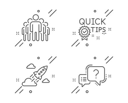 Quick tips, Startup rocket and Group line icons set. Question mark sign. Helpful tricks, Business innovation, Managers. Quiz chat. Technology set. Line quick tips outline icon. Vector Vectores