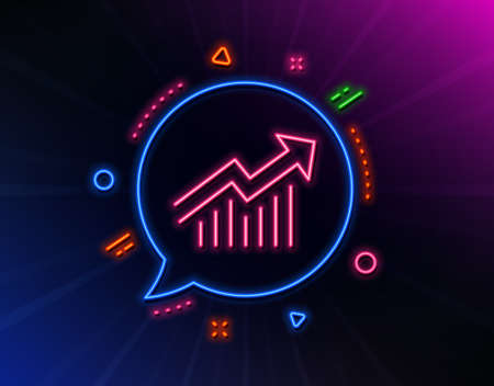Chart line icon. Neon laser lights. Report graph or Sales growth sign. Analysis and Statistics data symbol. Glow laser speech bubble. Neon lights chat bubble. Vector 矢量图像