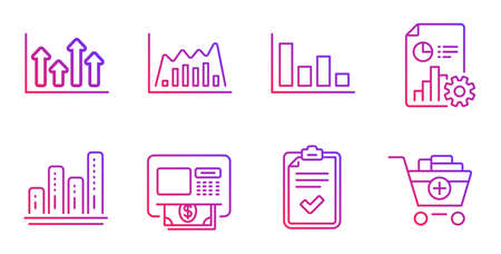 Graph chart, Atm and Histogram line icons set. Infographic graph, Checklist and Upper arrows signs. Report, Add products symbols. Growth report, Money withdraw. Finance set. Vector Illustration