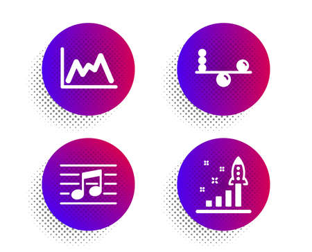 Balance, Musical note and Diagram icons simple set. Halftone dots button. Development plan sign. Concentration, Music, Growth graph. Strategy. Education set. Classic flat balance icon. Vector