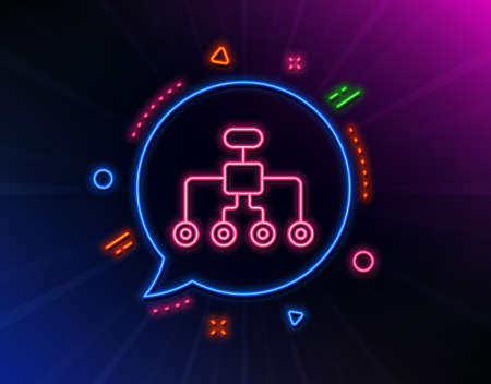 Restructuring line icon. Neon laser lights. Business architecture sign. Delegate symbol. Glow laser speech bubble. Neon lights chat bubble. Banner badge with restructuring icon. Vector