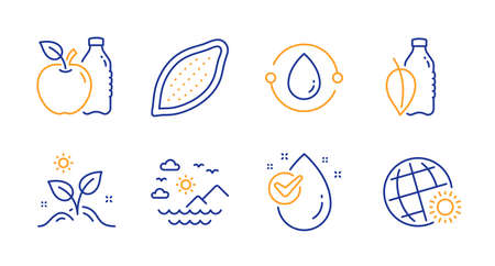 Sea mountains, Grow plant and Apple line icons set. Cocoa nut, Cold-pressed oil and Water bottle signs. Water drop, World weather symbols. Summer travel, Leaves. Nature set. Vector Illusztráció