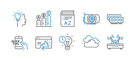 Set of Science icons, such as Gpu, Time management, Seo marketing, Vocabulary, Idea, Cloudy weather, Ram, Graph chart, Education, Wifi line icons. Graphic card, Idea lightbulb. Line gpu icon. Vector